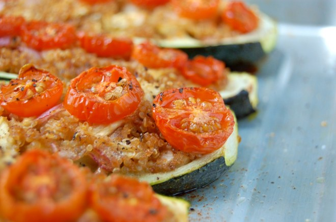 Sun Dried Tomato Pesto Zucchini Boats