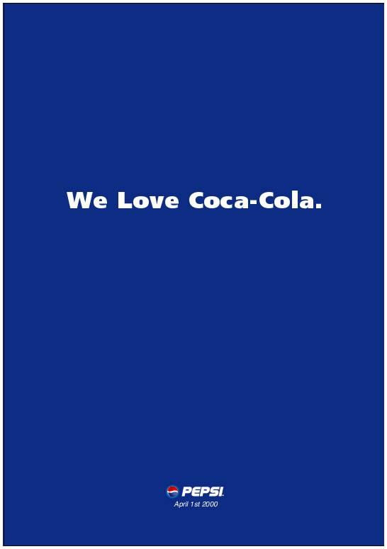 Pepsi vs Coca Cola 1 april Ad