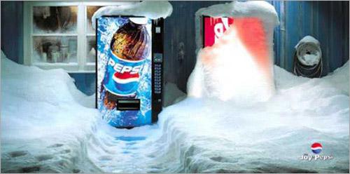Pepsi vs Coca Cola vending machine snow Ad