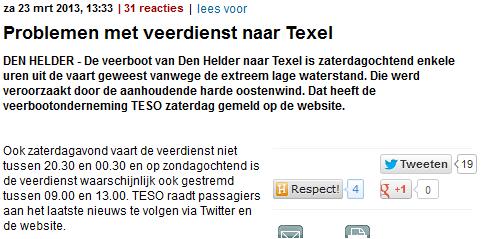Telegraaf 23-3-2013 Veerdienstproblemen