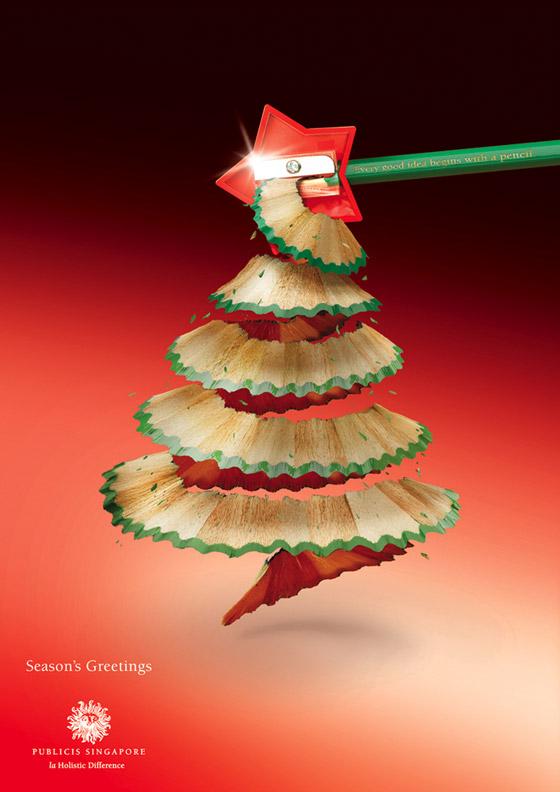 kerstboom puntenslijpsel publicis singapore