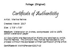 Foliage Certificate of Authenticity