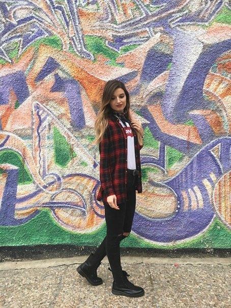 marikowskaya street style andrea camisa cuadros zara (1)