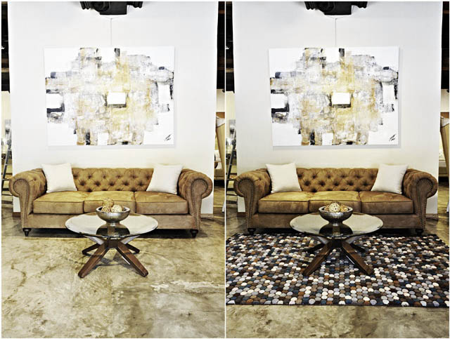 Do You See How A Rug Completes The Room This Fun Modern From Decoliving Added Warmth And Texture To Concrete Floor