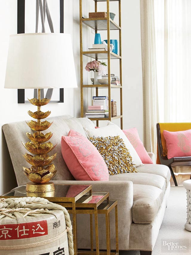 shelf on the far end is a gorgeous way to add style to your room.  This room found on Bhg.com looks so much more put together with that shelf.