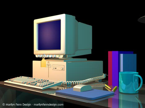 GSO (Global Sign-On) PC and Desk 3D Model
