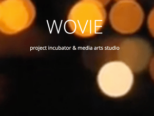 White test reads over abstract backgrround, reads: Wovie, porject incubator and media arts studio