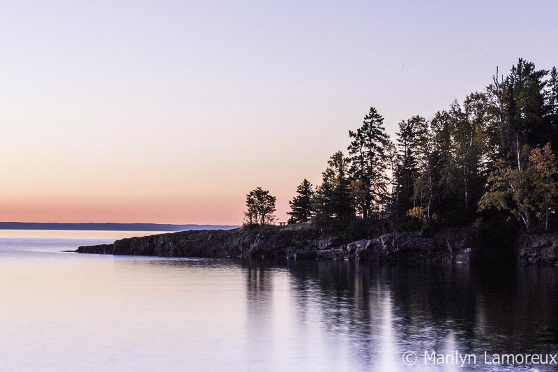 Shadow reflections and pink horizon