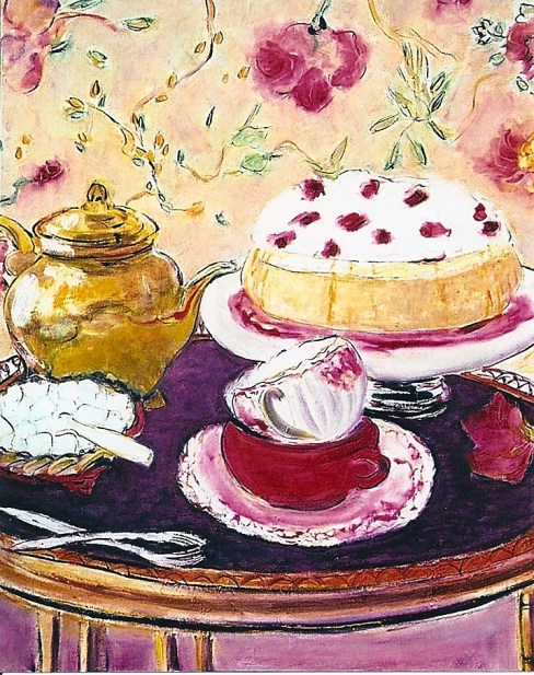 Still Life with Rhubarb Cake 20x24