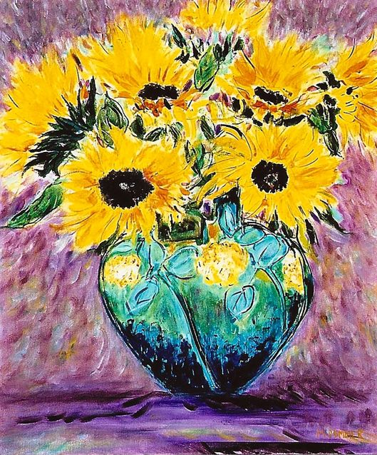 Sunflowers in Roseville Pottery 20x24
