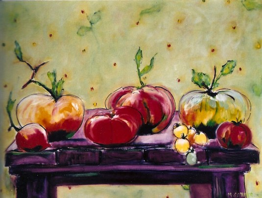 Table Laden with Heirloom Tomatoes 20x24