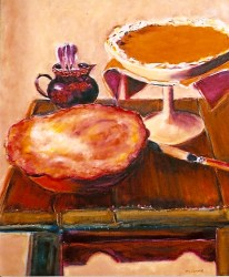 Two Pies on Purple Wooden Tabletop