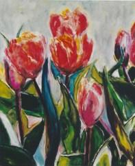 Orange-Red Tulips 20x24
