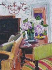 Interior with Hydrangeas 30x40