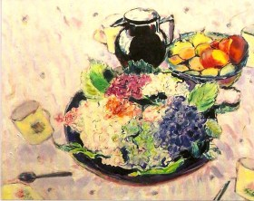 still life with bowl of hydrangeas 25x31