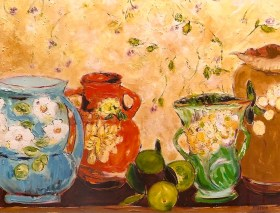 still life with roseville pottery 24x36
