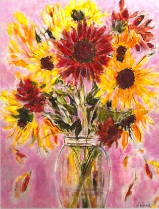 sunflowers in glass vase 24x30