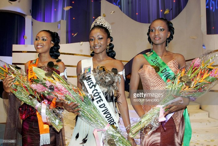 Alima Diomandé Miss Côte d'Ivoire 2006 et ses dauphines Kobou Koussou Diane et Traoré Salimata