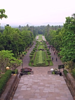 Looking down from Borobudur .