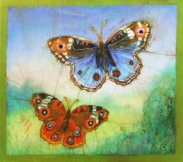 Tortoise shell and Blue butterflies, batik on cotton by Marina Elphick