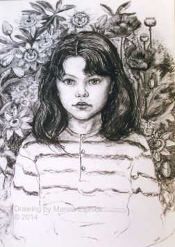 Early charcoal drawing of Amy by Marina Elphick