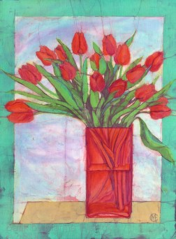 Red tulips, batik on cotton by Marina Elphick