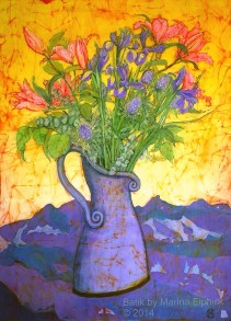 Floral batik painting by Marina Elphick, UK artist specialising in batik portraits, fora and fauna.