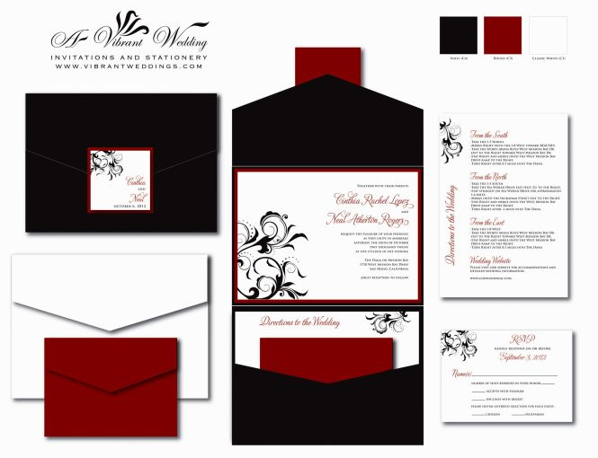 Red And Black Wedding Invitations Marina Gallery Fine Art