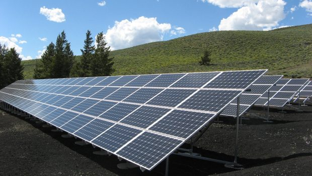 rows of solar panels in a green field
