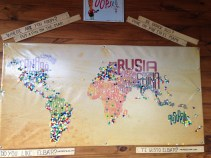 Cool pin map at a cafe in Calafate
