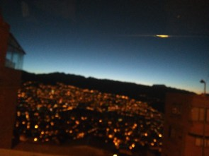 La Paz at dawn -- on the way to the airport
