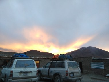 Sunset on Day 2 - in front of our rustic accommodations