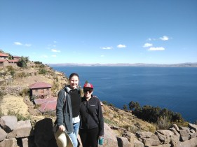 Lena and I with Lake Titicaca