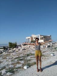 Angela in front of the Erechtheion
