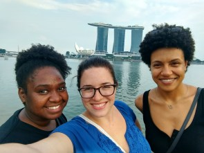 Natasha, me, Angela in front of Marina Bay Sands
