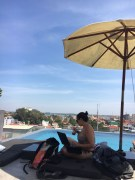 Last day in Phnom Penh, working from Aquarius pool