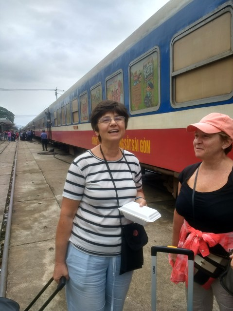 Ready to board the train to Hue - Galya and mom