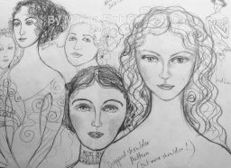 Sketches for muses by Marina Elphick, batik artist and doll maker UK.