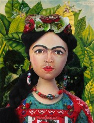"""Frida Kahlo muse by Marina Elphick, set against detail from Kahlo's """"self portrait with necklace of thorns""""."""