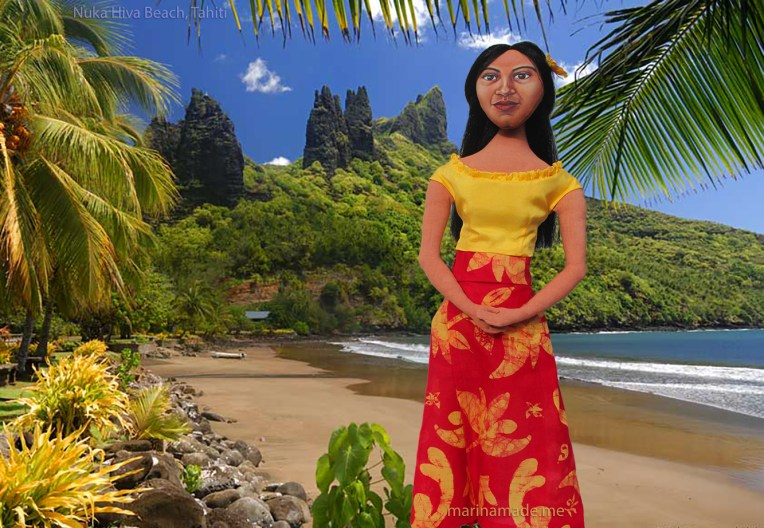 Marina's muse of Teha'amana on Nuka Hiva beach, Tahiti.
