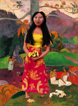 Gauguin's muse Teha'amana with his painting Mata Mua.