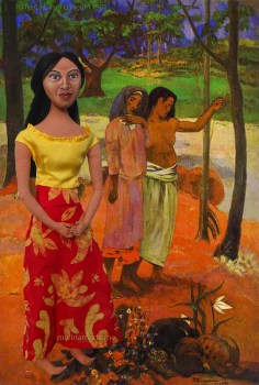 """Art Muse Teha'amana in front of the painting by Gauguin, """"The Call"""". Marina's Muses"""