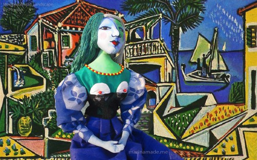 """Picasso's Marie-Thérèse muse made by Marina Elphick, set against a painting by Picasso, """"Mediterranean Landscape"""". Art muses by Marina Elphick."""