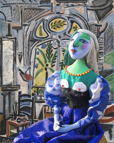 """Art Muse Marie-Thérèse, set """"a L'Atelier"""" 1955, Picasso. Art muses by Marina Elphick. Picasso's muse and lover, Marie-Thérèse."""