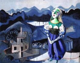 Art Muse Marie-Thérèse, set against Picasso's Mougins Landscape. Art muses by Marina Elphick. Picasso's muse and lover, Marie-Thérèse.