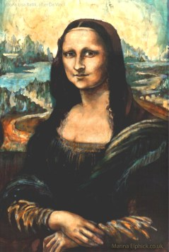 Mona Lisa batik by Marina Elphick, completed many years ago and stolen from an exhibition in Berkshire in 1986.