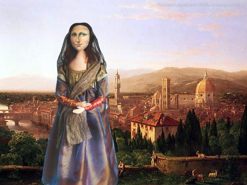 Mona Lisa muse overlooking Florence,1500s. She is standing in a rural area outside the city which would 70 years later become the famous Boboli Gardens.La Gioconda, La Joconde, Lisa Gherardini, or as we all know her, Mona Lisa. Mona Lisa muse sculpted in textiles by Marina Elphick.