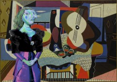 """My muse of Dora Maar in front of Picasso's painting, """"Mandelin et Guitare"""". Dora Maar muse, designed and sculpted in textiles by artist, Marina Elphick.Dora Maar, muse and lover of Picasso."""