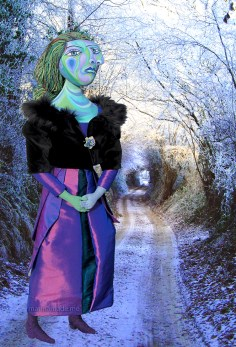 Dora Maar muse, inspired by Picasso, in Frosty lane. Dora Maar muse, designed and sculpted in textiles by artist, Marina Elphick.Dora Maar, muse and lover of Picasso.