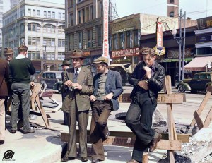 Unemployed men hanging out on the street in San Francisco, California (April 1939).